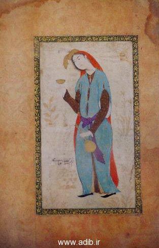 تصویر یک زن با امضای رضا عباسی