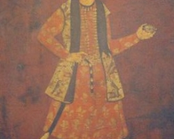 تصویر یک شاهزاده نادری احتمالا رضا قلی میرزا متعلق به اواسط قرن دوازدهم آبرنگ