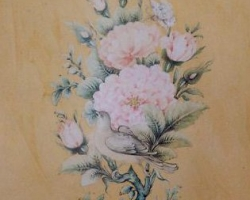 یک دسته گل وبته وپرنده با امضای میرزا آقا امامی از نقاشان بزرگ معاصر «متوفا در سال 1338 شمسی