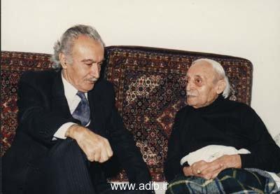 دست راست : استاد محمد علی نجاتی از شاعران و ادیبان عالیقدرمعاصر دست چپ : ادیب برومند
